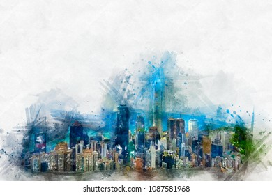 Watercolor painting with skyscrapers. A bright splash of flowers isolated on white.