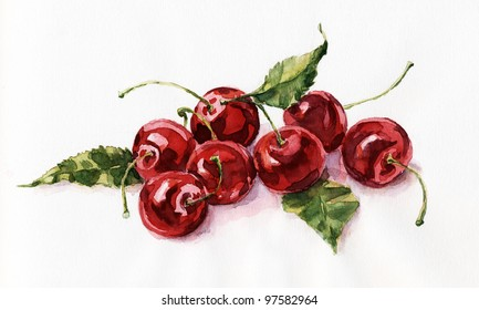 Watercolor painting, still life, cherries on a white background.