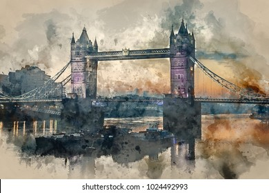 Watercolor painting of Stunning Autumn Fall sunrise over Tower Bridge and River Thames in London.