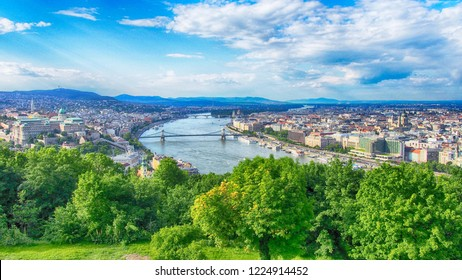 Watercolor painting style of panorama view of Budapest city and Danube river, Hungary