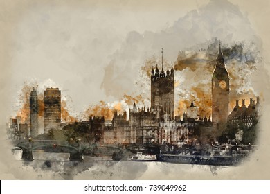 Watercolor painting of Sunset skyline of Big Ben and Houses of Parliament in London.