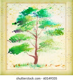 Watercolor painting of a tree, very elegantly drawn