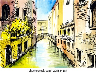 watercolor painting - ?anal in Venice