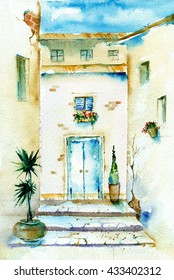 Watercolor painting in vintage style. Old courtyard with blue shabby door on textured paper.