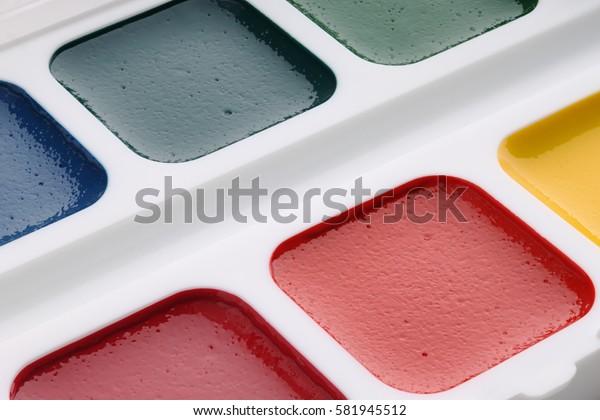 Watercolor paints close-up