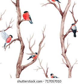 Watercolor pattern  autumn tree with  birds on the branches. bird tit and bullfinch. beautiful autumn wallpaper.