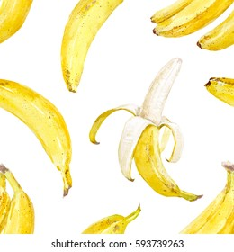 Watercolor pattern with banana. on a white background
