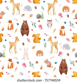 Watercolor pattern with cute animals, forests pattern, baby Wallpapers.  deer, squirrel, Fox, bear, owl, hedgehog, snail, berries and leaves