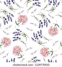 Watercolor pattern with gentle summer flowers