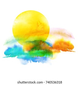 Watercolor pattern, illustration on white isolated background. Sunset, dawn, yellow sun on a yellow, orange, blue sky with clouds.Vintage illustration. Watercolor beautiful background.