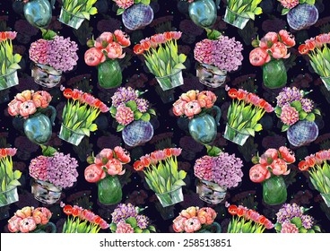 "Watercolor pattern ""Peonies, hydrangeas and tulips in vases"" on dark blue background"