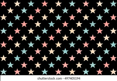 Watercolor pattern with pink, beige and blue stars on black background.