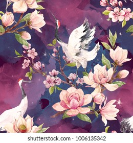 Watercolor pattern Red Heads Crane.   Japanese traditional motif, cherry blossoms, Branch of Magnolia flowers and bird, dark space background