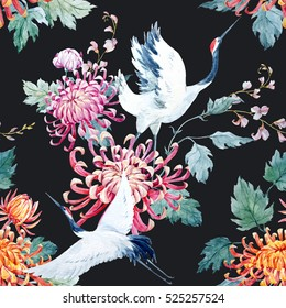 Watercolor pattern Red Heads Crane.  chrysanthemum flowers. a Japanese traditional motif, dark background