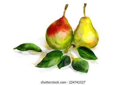 Watercolor pears. Still life. Digital painting, imitation of watercolor.