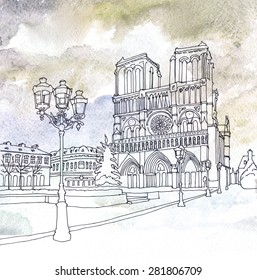 Water-color and pen drawing of Notre Dame de Paris, France