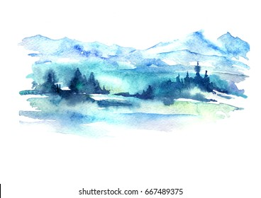 Watercolor picture of mountains, forest with pine trees, fir, cedar. Abstract vintage spots of blue, green. On a white background. Postcard, picture, poster, logo.