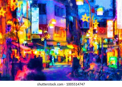 Watercolor picture of the night Asian street in bright lights. Digital painting