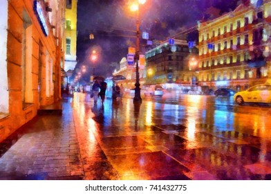 Watercolor picture of the night streets of a big city