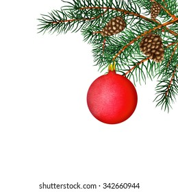 Watercolor pine tree branch, ball, cones, border. Closeup isolated on white background. Christmas decoration. Hand painting on paper