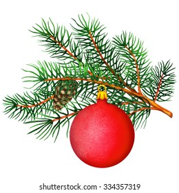 Watercolor pine tree branch, cone, red ball closeup isolated on white background. Hand painting on paper