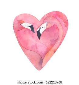 Watercolor pink flamingo couple in the shape of a heart. Exotic bird. Painting print for card, t-shirt, canvas