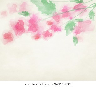 Watercolor pink flowers on paper texture background for greeting or wedding invitation card with white space for text.