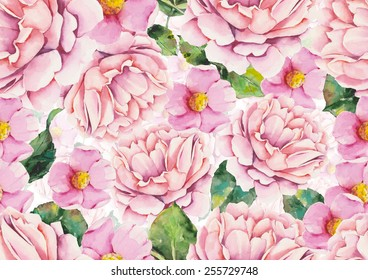 Watercolor pink flowers on a white background
