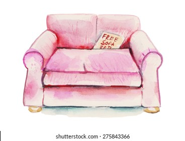 Watercolor pink glamour sofa illustration