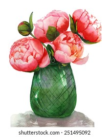 Watercolor pink peonies in a green glass vase painting
