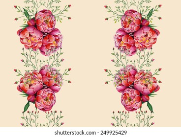 Watercolor pink peonies and roses on ivory background pattern