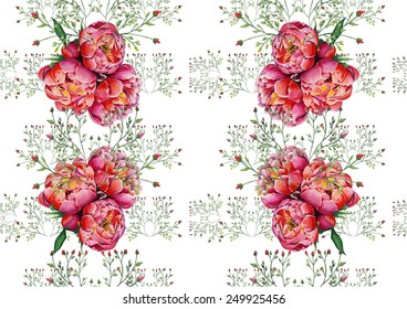 Watercolor pink peonies and roses on white background pattern