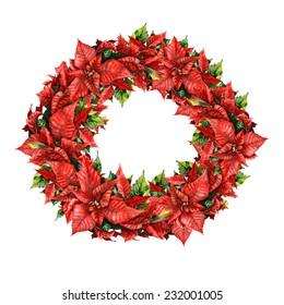 watercolor poinsettia wreath