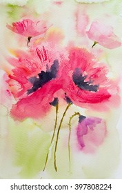 Watercolor poppy flowers, hand painting on paper