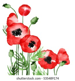 Watercolor poppy pattern, template for wedding invitations and cards