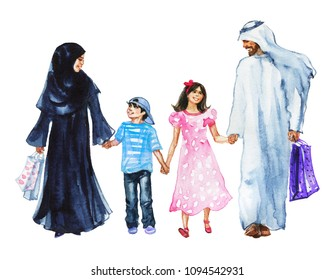 Watercolor portrait of arabian happy family. Hand drawn father, mother, son and daughter after shopping. Painting illustration with smiling muslim people