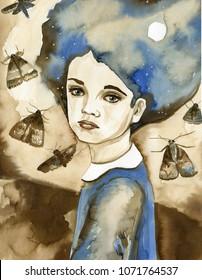 Watercolor portrait of a child.