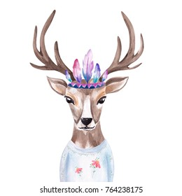 Watercolor portrait of the cute deer in Indian Feather Headdress