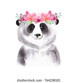 Watercolor portrait of the cute panda in floral wreath