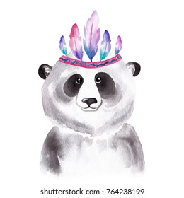 Watercolor portrait of the cute panda in Indian Feather Headdress