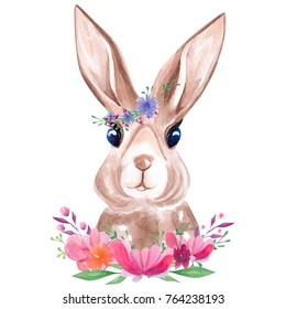 Watercolor portrait of the cute rabbit in floral wreath