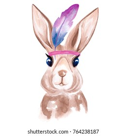 Watercolor portrait of the cute rabbit in Indian Feather Headdress