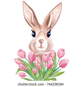 Watercolor portrait of the cute rabbit in tulips