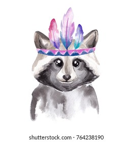 Watercolor portrait of the cute raccoon in Indian Feather Headdress