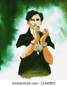 Watercolor portrait of magician Harry Houdini