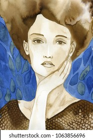 Watercolor portrait of a young beautiful woman.