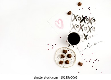 Watercolor postcards, coffee and sweets. Flat lay, top view Valentine's Day or Love composition.
