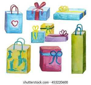 Watercolor presents - set of hand-painted icons. Birthday or Christmas gift. Love heart shopping bag for Valentine day. Colorful wrappings with ribbon bows. Watercolour clipart isolated on white