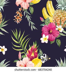 Watercolor print of pineapple,  hibiscus flower, white plumeria,lemon  and  dragon fruit, banana and palm leaves,  tropical pattern , Dark background