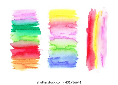 Watercolor Rainbow Backgrounds. Ombre fons. Abstract watercolor hand paint texture, isolated on white